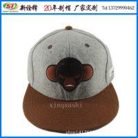 厂家新年优惠定制 韩版时尚猿头绣花平板嘻哈帽 仿羊毛平板棒球帽
