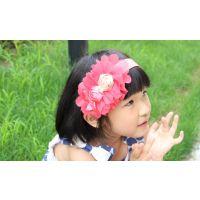 1332大雪纺花朵玫瑰发箍发扣 儿童发饰 头饰批发 3色