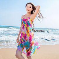 雪纺防晒沙滩巾 大印花沙滩围巾 裹裙夏海滩巾 春夏丝巾披肩