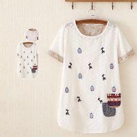 2015夏季新品短袖t恤女式 外贸日式刺绣镂空纯棉T恤女 大码女装