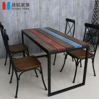实木铁艺做旧饭桌 办公桌 书桌 复古酒吧咖啡厅餐桌椅