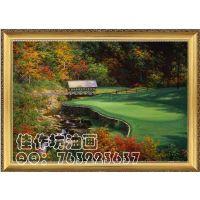 纯手绘高尔夫球场风景油画卧室餐厅装饰画办公室挂画电表箱遮画