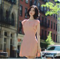 2015夏装新品韩国东大门代购气质显瘦飞飞袖连衣裙