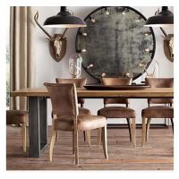 美式乡村黑色铁艺实木餐桌家具做旧餐桌复古工作台办公书桌子定做