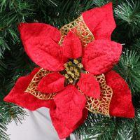 25CM红色钻石绒精致圣诞花 装饰仿真花 圣诞装饰品 红配金六角
