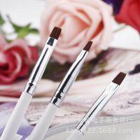 厂家美甲光疗笔法式专用排笔平头光疗排笔木杆光疗笔