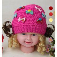 儿童针织包头蝴蝶结童帽公主宝宝套头毛线帽子婴幼儿童帽批发