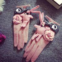 韩国东大门粉色兔子山茶花蝴蝶结 羊毛五指保暖手套骑车作业手套
