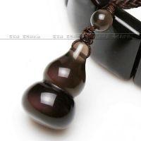 石在美 巴西纯天然冰种黑曜石葫芦情侣吊坠 材质材质