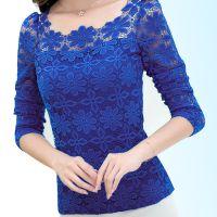 【实拍】蕾丝打底衫女长袖2014秋装新款小衫潮修身韩版上衣