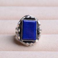925银蝙蝠镶嵌天然阿富汗青金石长方形戒指
