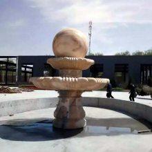 广场水池晚霞红石雕风水球万洋雕刻厂家定制