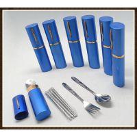 厂家直销|餐具三件套|迷你旅行餐具|笔筒式不锈钢勺叉筷三件套