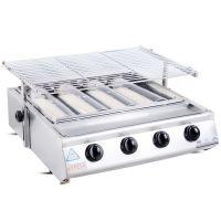 耐高温烧烤炉 红外线烧烤炉 大四头燃气钢板烧烤炉 商用烧烤必备