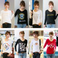 供应女装长袖T恤打底衫韩版女装修身T恤衫批发