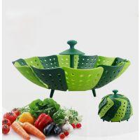 厂家直销 折叠孔雀开屏创意食品级PP塑料滤伸缩水果盘收纳水果盘