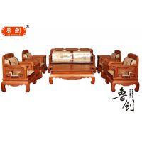非洲酸枝木沙发红木家具组合东阳工艺阔叶黄檀精雕大款荷花宝座