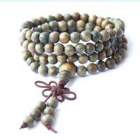 佛教木质佛珠批发 绿檀佛珠手链 6mm 108颗念珠手串