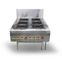 餐饮商用不锈钢六头燃气煲仔饭炉 煲粥、煲汤多用炉 商用厨房设备