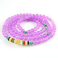 串珠手链 浅紫色马来玉五行转运珠手链批发 108颗佛珠时尚手链