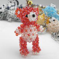 厂家直销汽车挂件 泰迪熊摆件 创意串珠饰品精品小礼物小商品批发