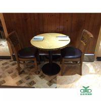 运达来供应防火板长方桌圆桌 酒店餐厅冷饮两人位板式餐桌椅