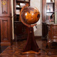 50CM立体浮雕实木地球仪 欧式家具装饰工艺落地摆件 办公室书房摆放