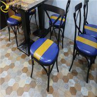 厂家直销餐厅铁艺餐椅 美式餐厅复古靠背椅 定制西餐厅软包椅
