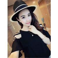 Miss JTO夏季新款韩版甜美荷叶边袖百搭显瘦短款雪纺衫A18-70804