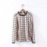 2015春装新款女装韩版百搭圆领长袖格子衬衫女个性T恤打底衫