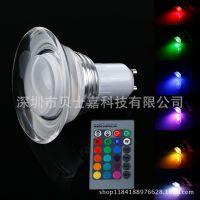 E27 3W led rgb 变色水晶亚克力节能灯遥控灯展厅灯led节能灯