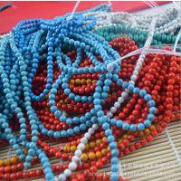 纯天然绿松石长条厂家批发 diy饰品配件 圆珠子 红 蓝白散珠批发