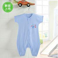 宝宝睡袋纯棉短袖儿童睡袋防踢被婴儿分腿式睡袋开裆设计夏季薄款