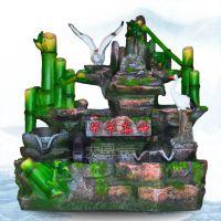 新品节节高升中号鱼缸双鹤高仿真竹子假山工艺品流水水景创意礼品
