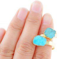 新款 速卖通亚马逊 欧美 外贸饰品批发 镀金 不规则水晶 开口戒指