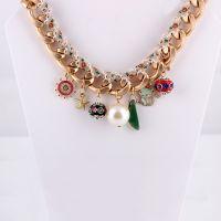 2014新款韩版大链条时尚珍珠动物车轮碎花装饰项链