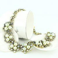 欧美巴洛克风格 珍珠水钻混搭豪华项链项饰 饰品 速卖通