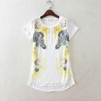 外贸原单女装仿真丝 甜美动物头像印花短袖T恤打底衫E122 0.15
