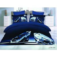 外贸个性3D 床上用品 3D立体床单 蓝色钻石 全棉被套 床单