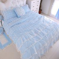 纯棉韩式公主床上四件套 全棉韩版田园公主风蕾丝床裙婚庆四件套
