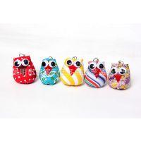 泰国进口创意民族风手工布艺钥匙扣 卡通猫头鹰小布偶挂件