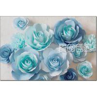 爱的创造大型手工定制纸艺玫瑰花 婚庆用品 橱窗婚礼场景布置道具