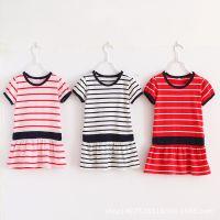 满包邮外贸纯棉日单夏季女童短袖T恤短袖裙式T恤