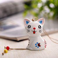 现货混批 新款迷你卡通小猫咪高白泥瓷胎风铃 陶瓷饰品陶瓷工艺品