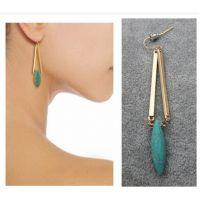 青岛外贸饰品 欧美风饰品 精美绿松石耳环 天然质感绿松石耳环