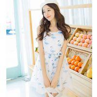 2015夏季新款女连衣裙 修身碎花无袖雪纺连衣裙  好质量