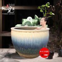 景德镇陶瓷青花手绘创意花鸟洗浴大缸 和艺陶瓷