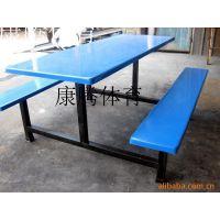 厂家直销 学校食堂玻璃钢连体餐桌椅 公司饭堂员工餐厅不锈钢桌椅 6人位条凳餐桌热销康腾体育