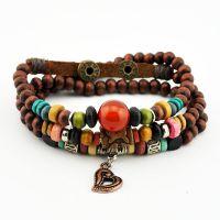 厂家直销民族风天然实木 波西米亚彩色木珠手链 速卖通货源 M2005