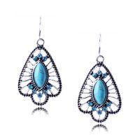 SE092 波西米亚民族风格 合金镂空 孔雀开屏 绿松石镶钻耳环 装饰